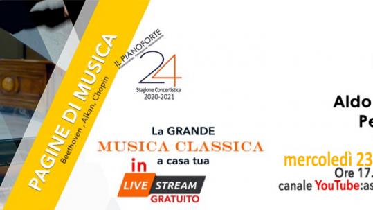Concerto solista in Live Streaming, dall'Auditorium Gazzoli di Terni per l'Associazione Araba Fenice